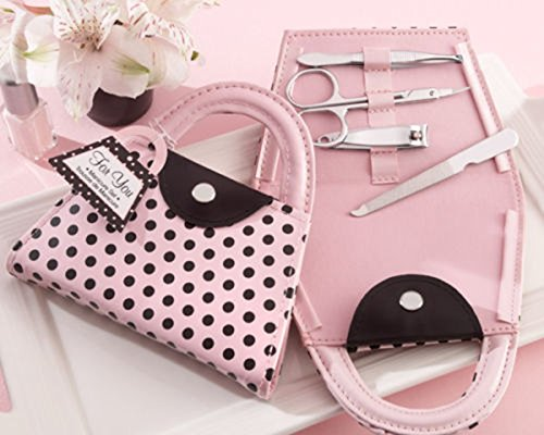 1 Set Polka Dot Purse Manicure Set Bridesmaid Xmas Wedding Valentines Gifts Pink