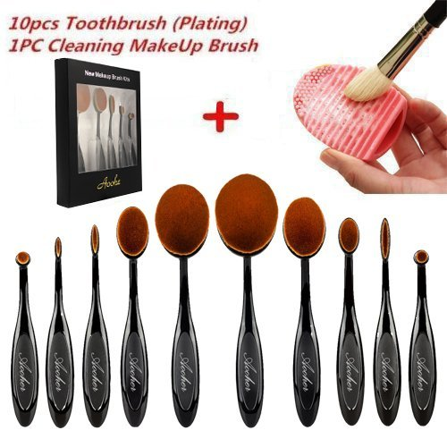 Makeup brushes , Aoohe Kabuki Oval Toothbrush Contour Makeup Brush Sets with Silicone Cleaning Mat Tools (Black10pcs) (Kabuki Brushes compare prices)