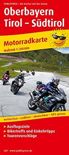 Oberbayern - Tirol - Südtirol: Motorradkarte mit Ausflugszielen, Einkehr- & Freizeittipps, wetterfest, reißfest, abwischbar, GPS-genau. 1:250000
