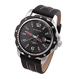 Curren Round Dial Analog Watch with Pu Leather Strap & Data Display -Black