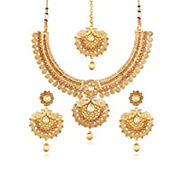 I Jewels 24K Gold Plated Traditional Jewellery Set with Maang Tikka for Women MS115