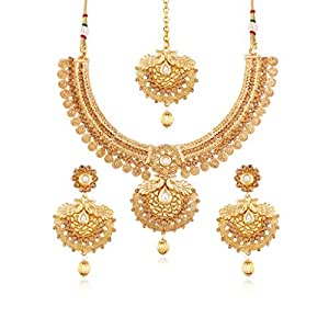 I Jewels Gold Plated Traditional Necklace Set with Earrings & Maang Tikka for Women MS115