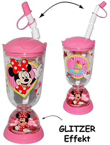 Trinkbecher-Trinkflasche-GLITZERBECHER-Disney-Minnie-Mouse-mit-Strohhalm-Deckel-300-ml-mit-Wasser-Glitter-Becher-Sommerglas-Trinklernbecher-Plastikbecher-zB-Limonade-Erfrischung-Sommer-Smoothie-Becher