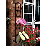Black Wall-Mounted Welly Boot Rack - Cast Iron Metal Wellington Boot Rack for 3 Pairs