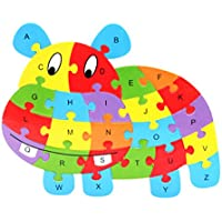 Zerowin Wooden Toys Cute Animals Shaped Alphabet Puzzle Educational Learn Letters Numbers Jigsaw Gifts,Hippo