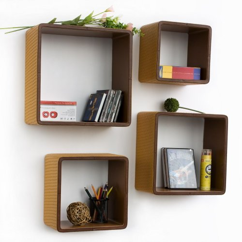 Trista - [Lively Lattice] Square Leather Wall Shelf / Bookshelf / Floating Shelf (Set of 4)