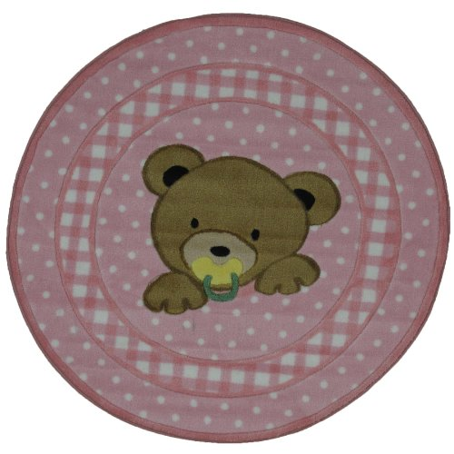 Round Teddy Bear Area Rug Pink 39