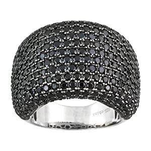 3.57ctw Round Faceted Black Spinel .925 Sterling Silver Wide Band Pave Dome Ring