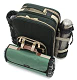 Greenfield Collection Super Deluxe Picnic Backpack Hamper for 2-People, Forest Green with Matching Picnic Blanket