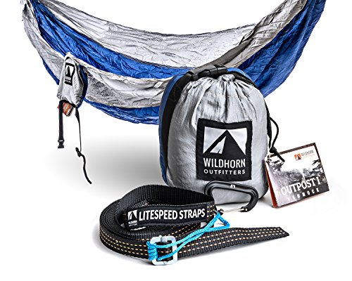 Outpost Camping Hammock With Adjustable LiteSpeed Cinch Buckle Suspension System- Includes 11' 100% Polyester Tree Straps, Wire Gate Carabiners- Single or Double Size- 100% Ripstop Parachute Nylon