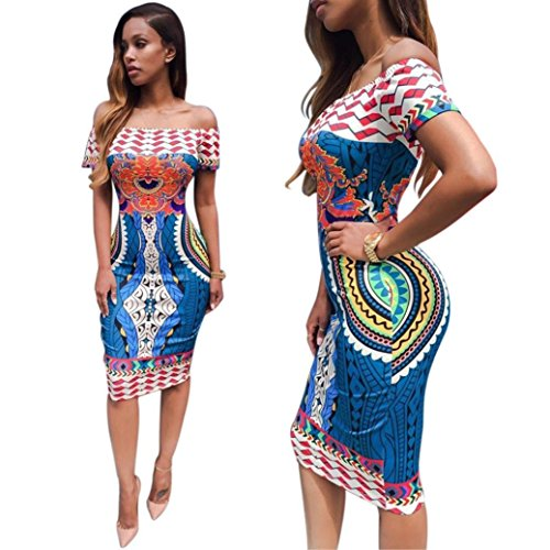 WomenWomen Sexy Traditional African Print Dashiki Bodycon Sexy Short Sleeve Dress (XL, multicolor)