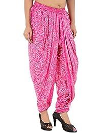 Elegant And Classic Pink Floral Rayon Dhoti Pant, Patiala Dhoti Salwar For Women, Girls From Khazana Basics