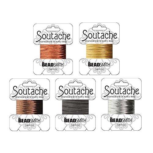 Shiny Metallic Soutache Bundle: Gold, Silver, Copper, Bronze and Black Soutache Cord - 15 Yards Total (Soutache Cord compare prices)