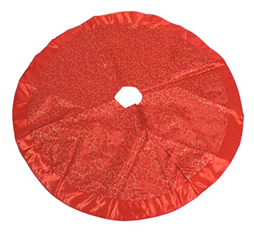 Christmas Decor Christmas Miniature Tree Skirt - Red Gold - 48 Inches
