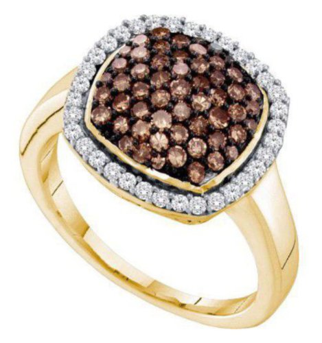 0.95 Cttw 10K Yellow Gold Cognac Brown Champagne Diamond Cocktail Ring Square Halo, 15Mm (Sizes 3-11)