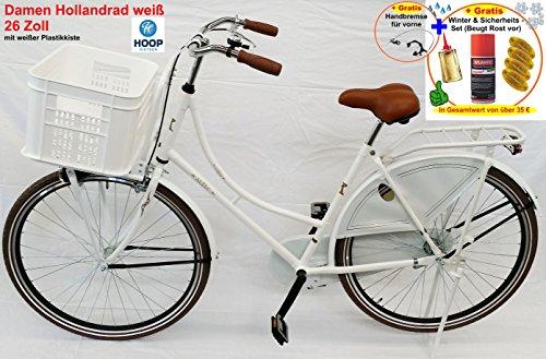 Damen Hollandrad London 26 Zoll weiß + Handbremse + weißer Kiste + Winterset