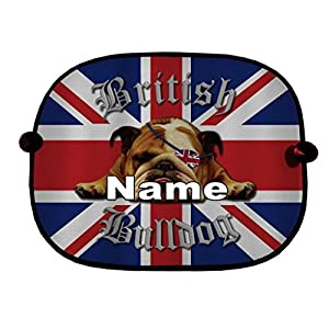 PERSONALISED PAIR OF UNION JACK BRITISH BULLDOG CAR WINDOW SUN SHADES GREAT FOR CAR BUS CHILDREN