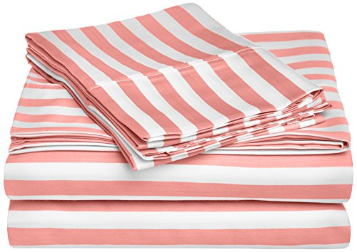 Cabana Stripe Kids Wrinkle Resistant Cotton Blend 600 Thread Count Full 4-Piece Sheet Set, Pink (Full Sheet Inc Modal compare prices)
