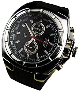 YouYouPifa® Fashion Luxury Rubber Strap Quartz Sports Wrist Watch (Silver)