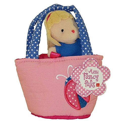 Aurora World Plush - Mini Fancy Pals Doll Carrier - GIRL in Pink with Ladybug Carrier (5 inch) - 1