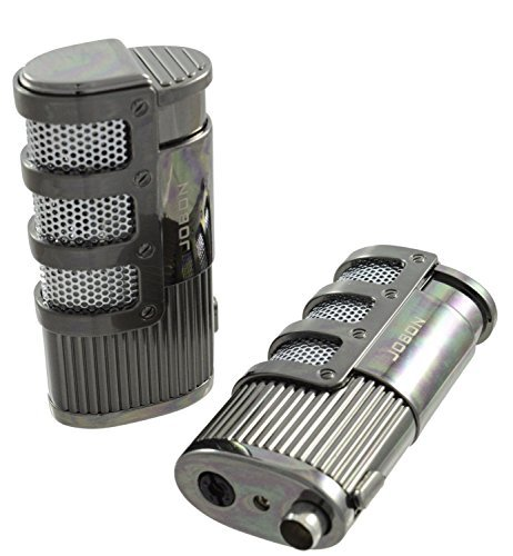 Triple Jet Flame Butane Torch Cigarette & Cigar Lighter - Refillable Butane Lighter With Cigar Punch Cutter Tool - Windproof, Rugged & Silent Lighter - Chrome Finish (Propane Torch Starter compare prices)