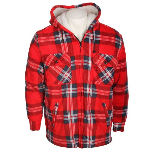 Fletcher & Lowe Mens Fleece Hooded Check Jacket Red in Size 2XLarge