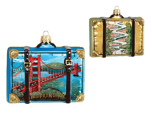 San Francisco California Travel Suitcase Polish Glass Christmas Ornament