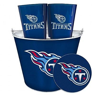 NFL Tennessee Titans Tailgate Set (5 Qt Metal Bucket, 4 16oz Cups, 4 Coasters)