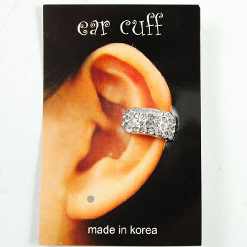 Celebrity Style Silver Crystal Single Small Ear Cuff Earring