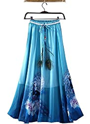 Women's Skirt,white (blue)
