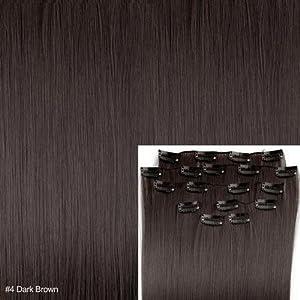 """8 X Extension A Clips De Cheveux Fibre 20"""" #4 Brun Foncé Mode"""