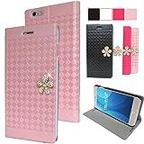 【 FRL-SHOP 】F-15 ◆ iphone6 / iphone6s ケース 手帳型 ◆ ラインストーン フラワーデコ 格子柄 ◆ アイフォン6 / 6s 4.7インチ ◆ カードポケット スタンド機能 ◆ ピンク