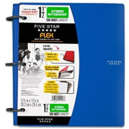 Five Star Flex NoteBinder, 1.5-Inch Capacity, 11.5 x 11.25 Inches, Notebook and Binder All-in-One, Blue (72405)