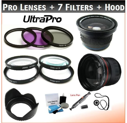 62Mm Digital Pro Professional Lens + Filter Bundle, Includes 3.5X Telephoto Lens + 0.38X Hd Fisheye Wide Angle Lens W/Macro + 3-Piece Filter Kit (Uv, Cpl, Fl-D) + 4-Piece Close-Up Filter Kit (+1, +2, +4, +10) + Digital Tulip Lens Hood + Lens Cleaning Pen