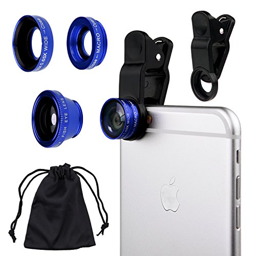 CamKix Universal 3 in 1 Cell Phone Camera Lens Kit for Smartphones including - Fish Eye Lens / 2 in 1 Macro Lens & Wide Angle Lens / Universal Clip / Carry Pouch / Microfiber Cleaning Cloth(blue)