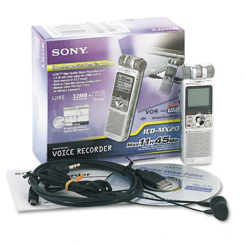 Sony Products - Sony - ICD-MX20 Digital Voice Recorder, 32MB Built-In Memory, Memory Stick PRO Duo Slot - Sold As 1 Each - Features voice-activated recording, navigation/menu key, PC transcription, memory capacity indicator, microphone sensitivity control