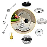 VDOMUS Pot Lid and Spoon Rest Pot Cover Holder for Kitchen, Stainless Steel Small Size