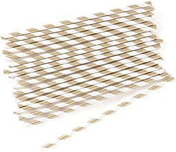 quotSippersquot Candy Striped Metallic Print Paper Straws Gold
