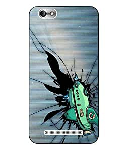 Snazzy Cartoon Printed Blue Hard Back Cover For Lenovo Vibe C A2020