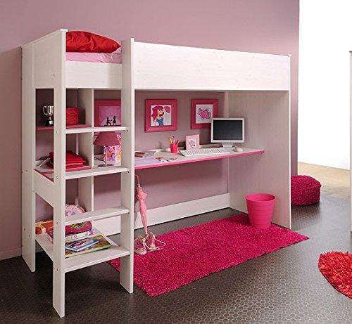Hochbett Snoopy 3, 108x206x180cm mit Schreibtisch, Kiefer-Nb weiß, Kinderbett günstig bestellen