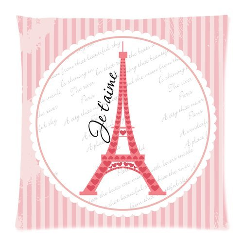 """Fashion Paris Eiffel Tower Pink Stripes Custom Zippered Pillow Cushion Case Throw Pillow Covers 20""""X20""""(Two Sides) front-1074425"""