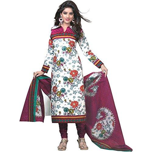 Jevi Prints White & Pink Unstitched Cotton Punjabi Suit