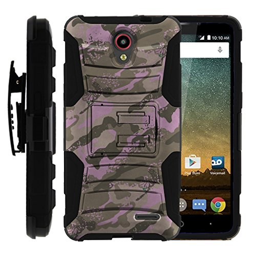 TurtleArmor ZTE Prestige Case ZTE AVID Plus Case Hyper Shock Rugged Armor Combo Holster Clip Hybrid Camo Case Silicone Kickstand Feature - Army Pink Camouflage