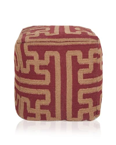 Surya Archive Pouf, Red