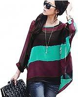 DJT Damen 2 in1 Regenbogen Streifen Chiffon Tunika T-Shirt Fledermaus Batwing Damebluse Longshirt Mit Weste Gr. S-XL