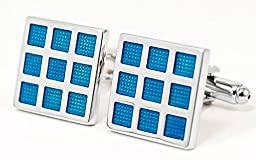 Dezirre Men\'s Silver Plated Cufflinks in Velvet Gift Box, 1 pair, Blue