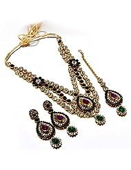 AD Necklace Set Bridal Kundan Polki Jadau One Gram Gold Plated Handmade Reallook Jewelr With Tika