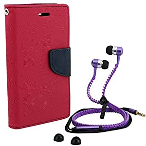 Aart Fancy Diary Card Wallet Flip Case Back Cover For Nokia 535-(Pink) + Zipper earphones/Hands free With Mic *Stylish Design* for all Mobiles By Aart store