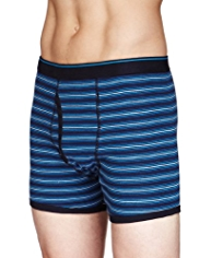 3 Pack Cool & Fresh™ Pure Cotton Striped Trunks with StayNEW™