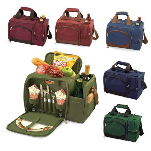 Picnic Time Malibu Shoulder Pack w/ Deluxe Picnic Service For 2 (Navy)